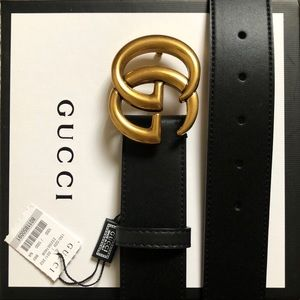 •New Gucci Belt Aùthentic Double G Marmot GG + Box